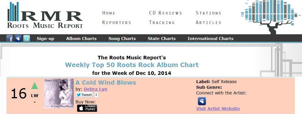 A Cold Wind Blows #16 on the Roots Music Report